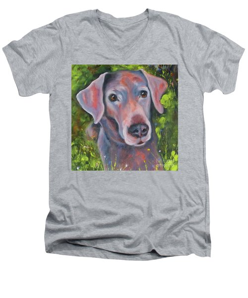 Lab In The Grass Men's V-Neck T-Shirt