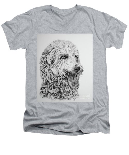 Men's V-Neck T-Shirt featuring the drawing Labradoodle by Terri Mills