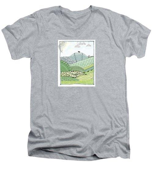 Labrador Mountain Doggie Doodle Men's V-Neck T-Shirt