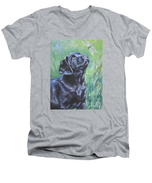 Labrador Retriever Pup And Dragonfly Men's V-Neck T-Shirt