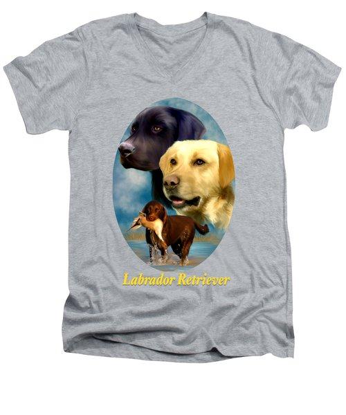 Labrador Retriever With Name Logo Men's V-Neck T-Shirt