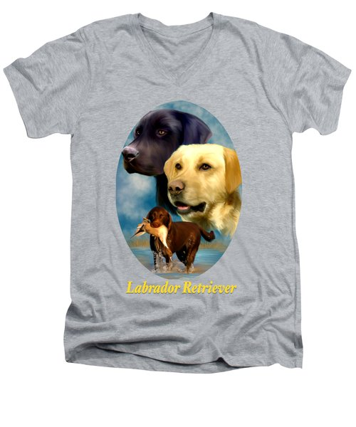 Labrador Retriever With Name Logo Men's V-Neck T-Shirt