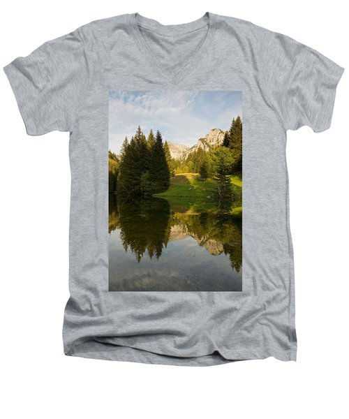 Lac De Fontaine Reflections Men's V-Neck T-Shirt