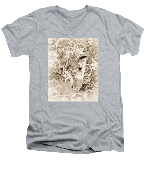 Men's V-Neck T-Shirt featuring the photograph Lacey by Lila Fisher-Wenzel