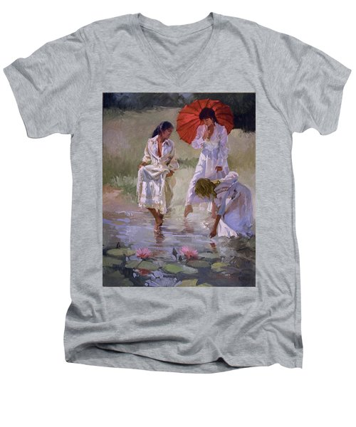 Ladies And Lilies Men's V-Neck T-Shirt