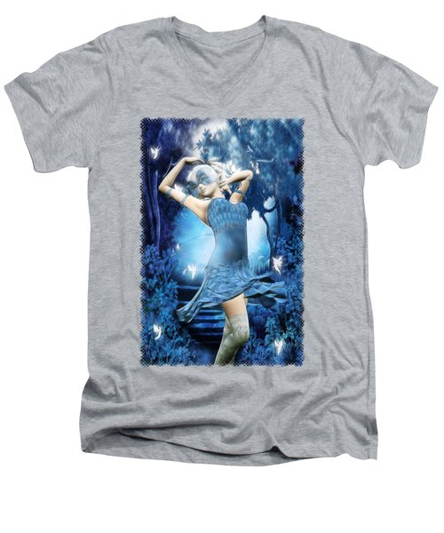 Lady Blue Fantasy Art Men's V-Neck T-Shirt by Sharon and Renee Lozen