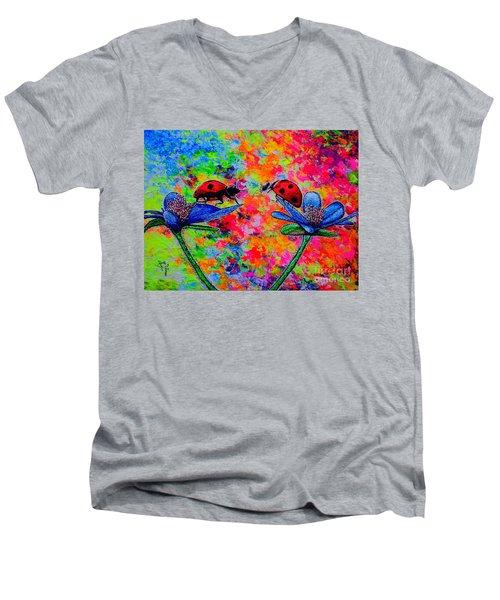 Lady Bugs Men's V-Neck T-Shirt by Viktor Lazarev