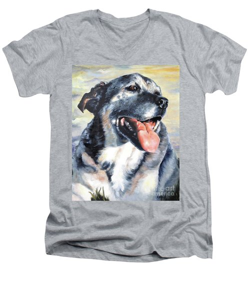 Men's V-Neck T-Shirt featuring the painting Lady by Diane Daigle