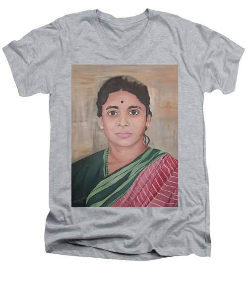 Lady From India Men's V-Neck T-Shirt