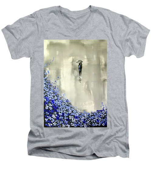 Lady In Blue Men's V-Neck T-Shirt