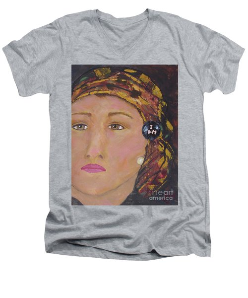 Lady In Head Scarf  Men's V-Neck T-Shirt