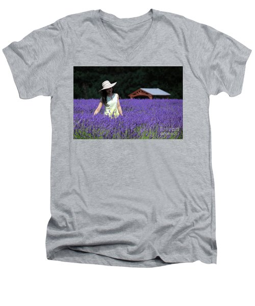 Lady In Lavender Men's V-Neck T-Shirt