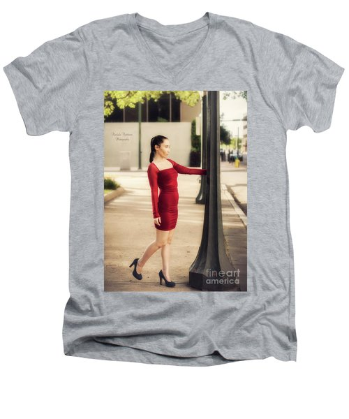 Lady In Red Men's V-Neck T-Shirt