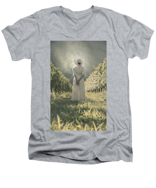 Lady In Vineyard Men's V-Neck T-Shirt