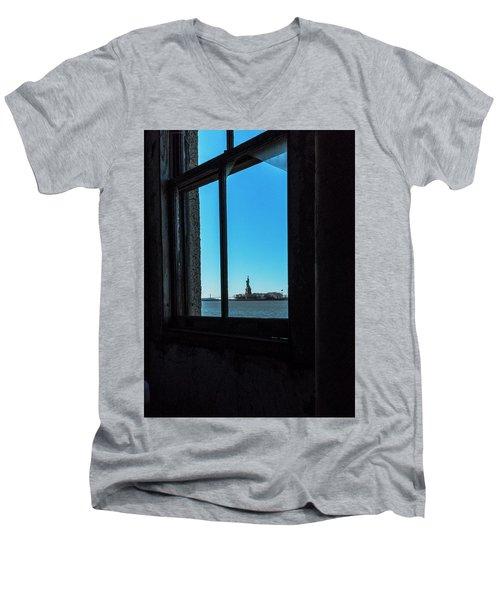 Lady Liberty Men's V-Neck T-Shirt by Tom Singleton