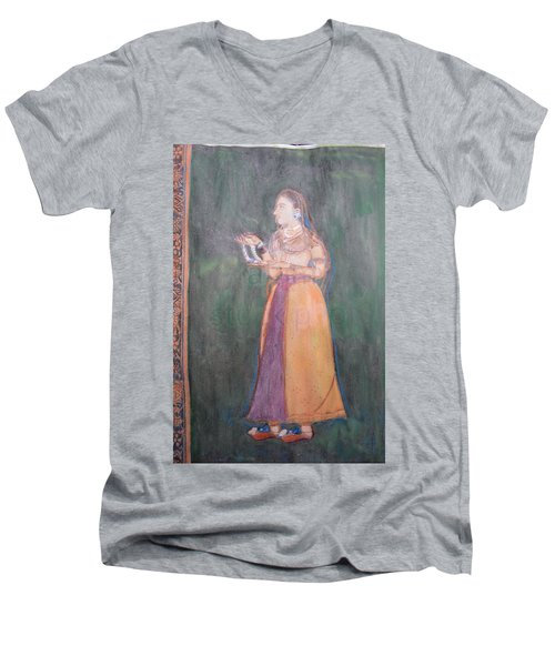 Men's V-Neck T-Shirt featuring the painting Lady Of The Court by Vikram Singh
