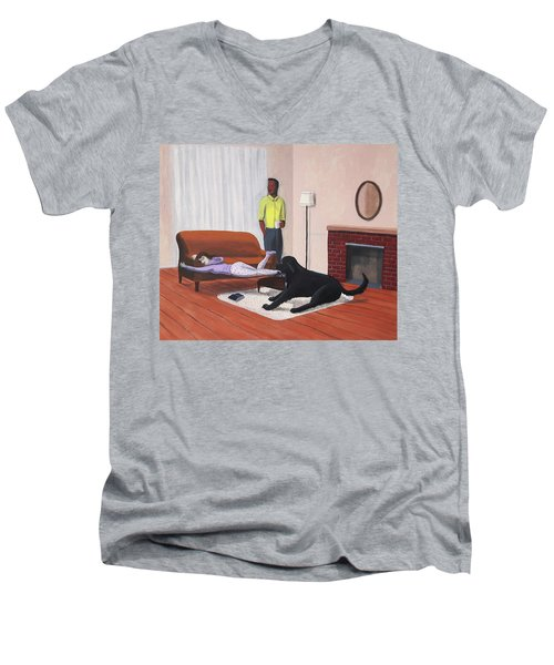 Lady Pulling Mommy Off The Couch Men's V-Neck T-Shirt