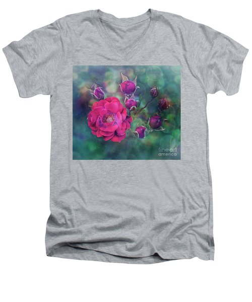 Lady Rose Men's V-Neck T-Shirt by Agnieszka Mlicka