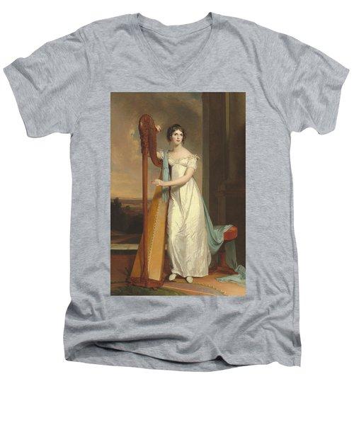 Lady With A Harp Men's V-Neck T-Shirt