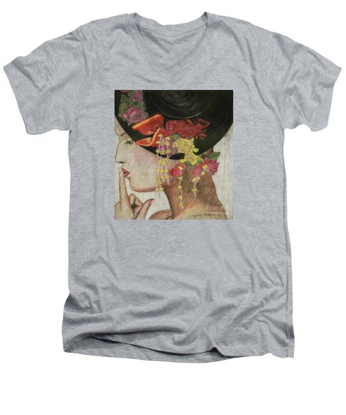 Lady With Hat Men's V-Neck T-Shirt by Jacqueline Athmann