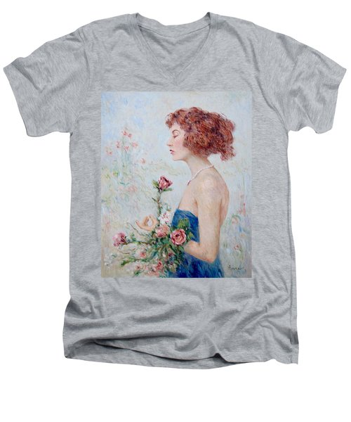 Lady With Roses  Men's V-Neck T-Shirt by Pierre Van Dijk