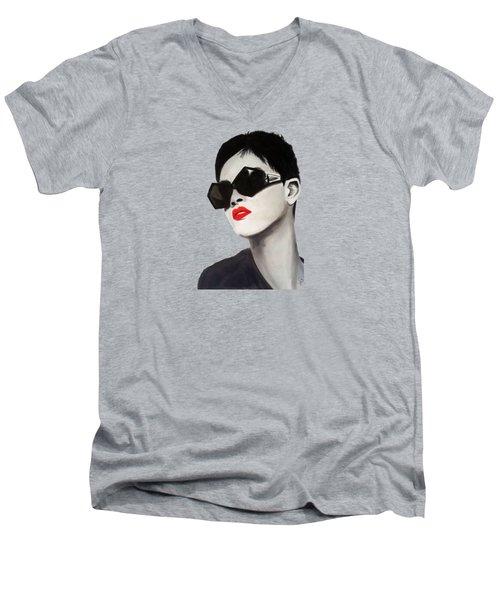 Lady With Sunglasses Men's V-Neck T-Shirt by Birgit Jentsch