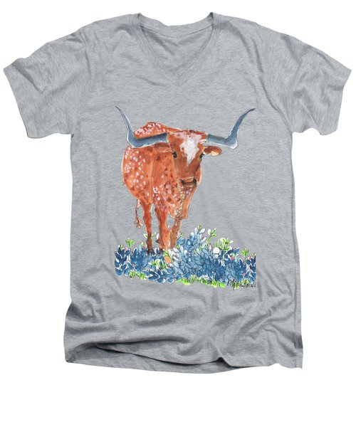 Ladybug In The Bluebonnets Lh002 By Kmcelwaine Men's V-Neck T-Shirt