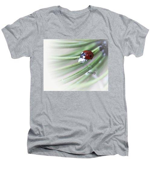Ladybug On Pine Men's V-Neck T-Shirt