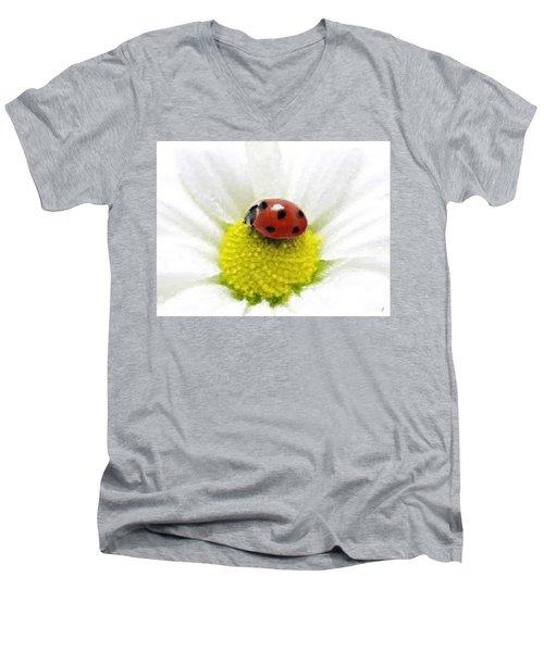 Men's V-Neck T-Shirt featuring the mixed media Ladybug On White Daisy by Anthony Fishburne