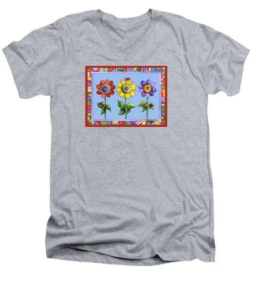 Ladybug Trio Men's V-Neck T-Shirt by Shelley Wallace Ylst