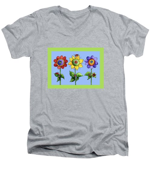 Ladybugs In The Garden Men's V-Neck T-Shirt by Shelley Wallace Ylst