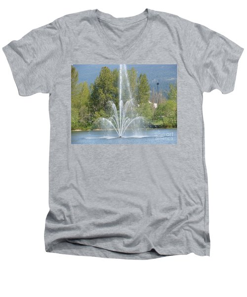 Men's V-Neck T-Shirt featuring the painting Lafarge Lake Fountain by Rod Jellison