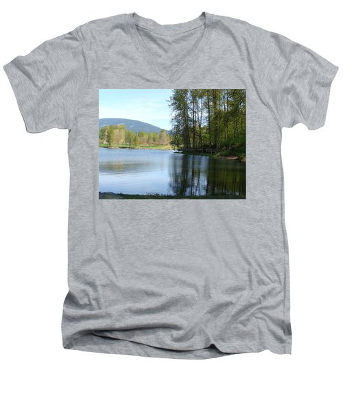 Men's V-Neck T-Shirt featuring the painting Lafarge Lake Serenity by Rod Jellison