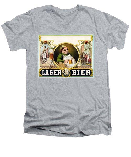 Lager Beer Stock Advertising Poster 1879 Men's V-Neck T-Shirt