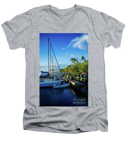 Men's V-Neck T-Shirt featuring the photograph Lahaina Marina Blue Twilight by Sharon Mau
