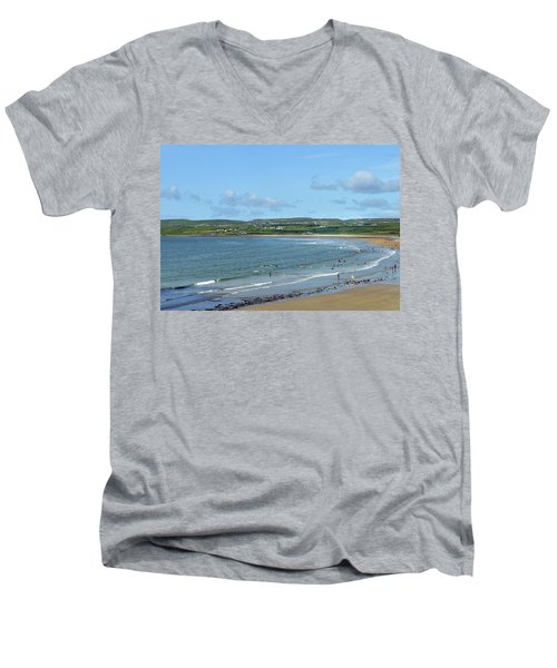 Men's V-Neck T-Shirt featuring the photograph Lahinch Beach by Terence Davis