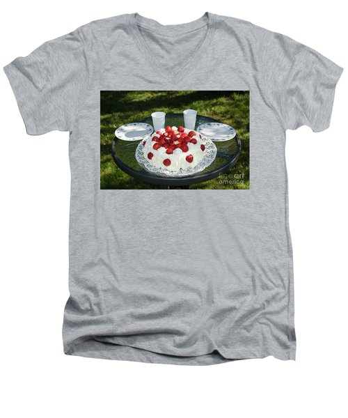 Men's V-Neck T-Shirt featuring the photograph Laid Summer Table by Kennerth and Birgitta Kullman