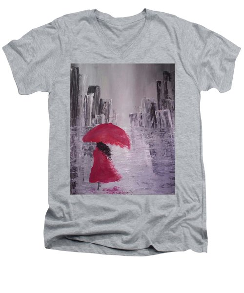 Laidy In The City Abstract Art Men's V-Neck T-Shirt