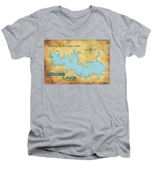 Men's V-Neck T-Shirt featuring the digital art Laissez Les Bon Temps Roulet - Cross Lake, La by Greg Sharpe