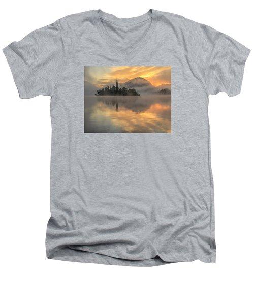 Lake Bled Sunrise Slovenia Men's V-Neck T-Shirt