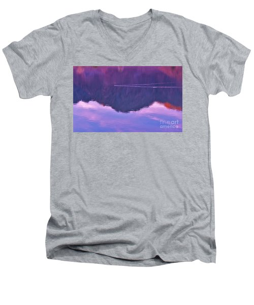 Lake Cahuilla Reflection Men's V-Neck T-Shirt by Michele Penner