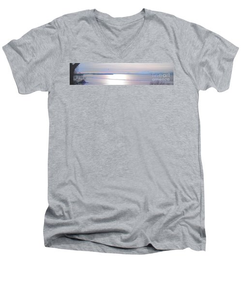 Lake Champlain South From Atop Battery Park Wall Panorama Men's V-Neck T-Shirt