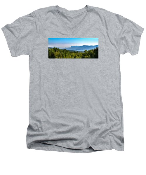 Lake George, Ny And The Adirondack Mountains Men's V-Neck T-Shirt by Brian Caldwell