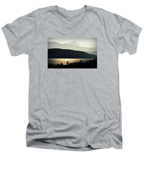 Men's V-Neck T-Shirt featuring the photograph Lake Glimmer by AJ  Schibig