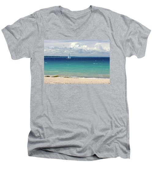 Men's V-Neck T-Shirt featuring the photograph Lake Huron Sailboat by Meta Gatschenberger