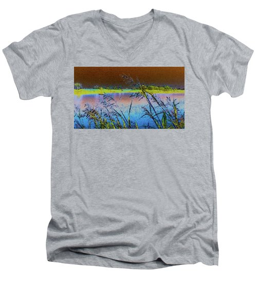 Men's V-Neck T-Shirt featuring the photograph Lake II by Donna G Smith