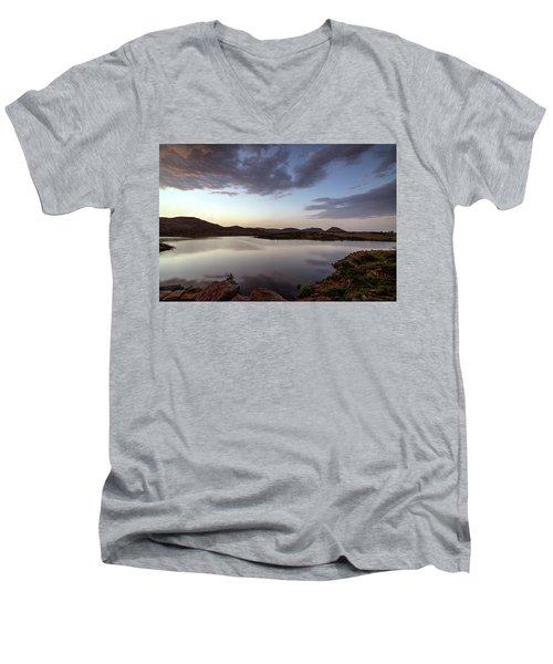 Lake In The Wichita Mountains  Men's V-Neck T-Shirt
