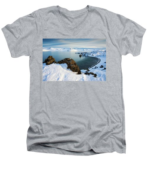 Men's V-Neck T-Shirt featuring the photograph Lake Kleifarvatn Iceland In Winter by Matthias Hauser