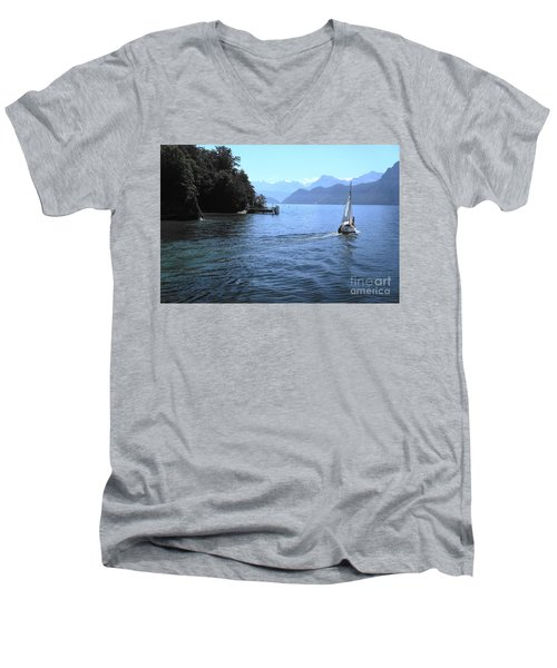 Lake Lucerne Men's V-Neck T-Shirt by Therese Alcorn