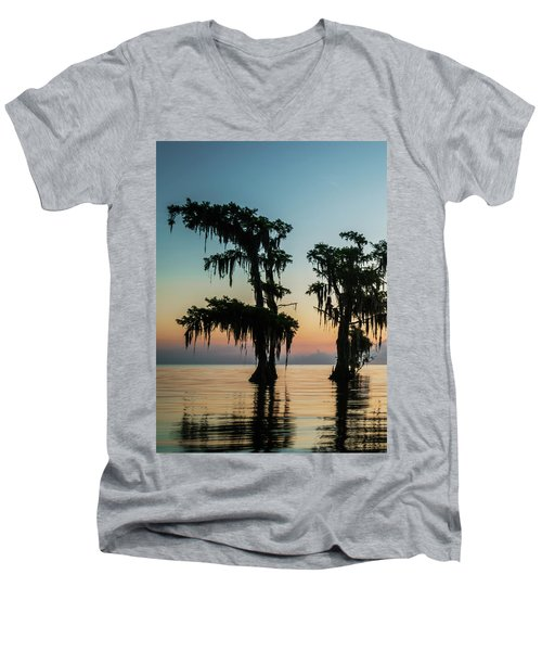 Lake Maurepas Sunrise Triptych No 3 Men's V-Neck T-Shirt by Andy Crawford